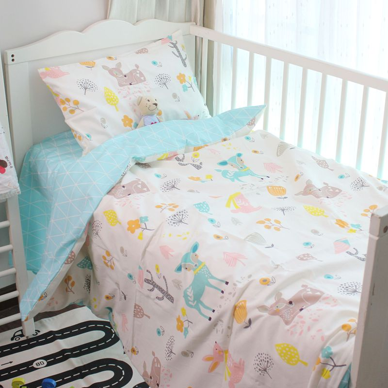 120*60cm cute Baby crib bedding set 100% cotton included sheets baby bedding Clouds Pine crown Pattern for girls boys edredones jennifer lopez coppel
