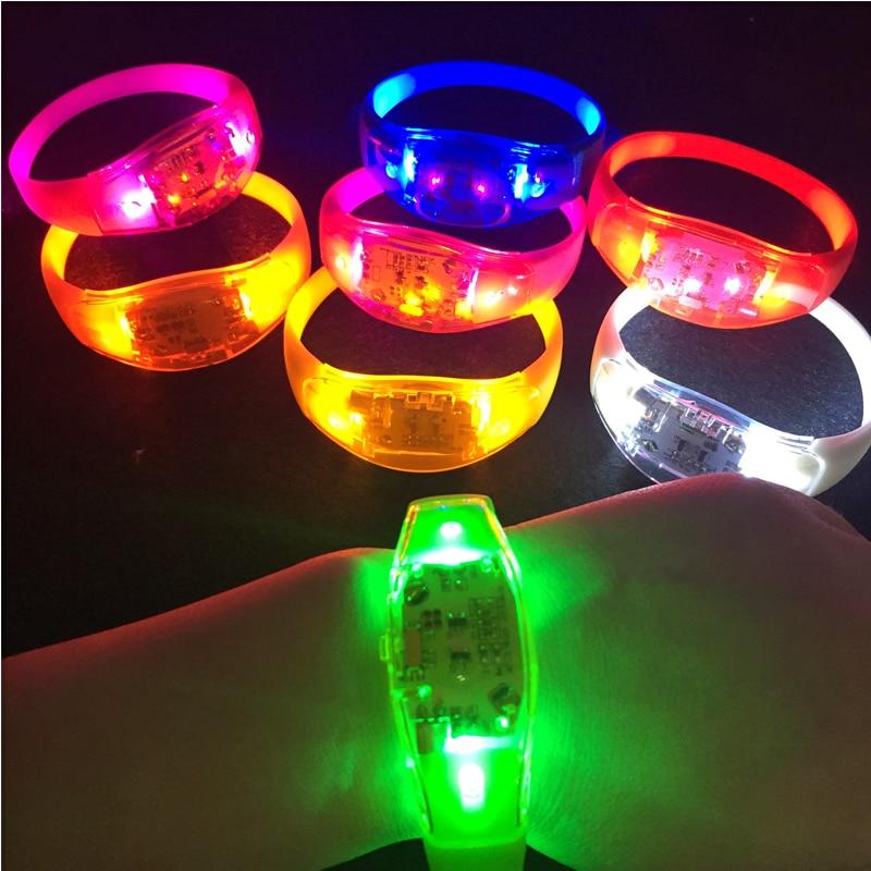 Led Flashing Button silicone bracelet battery eletronic toy for Men Women Kid Party Concert KTV Bar Flashing supplies 10pcs/lot