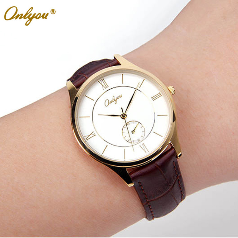 Wrist Watches for Men & Women Genuine Leather Watch Gold Silver Round Case Japan Quartz Analog Relogio Masculino Feminino 8891 feiwo 8090g alloys plating analog quartz wrist watch for men black golden silver