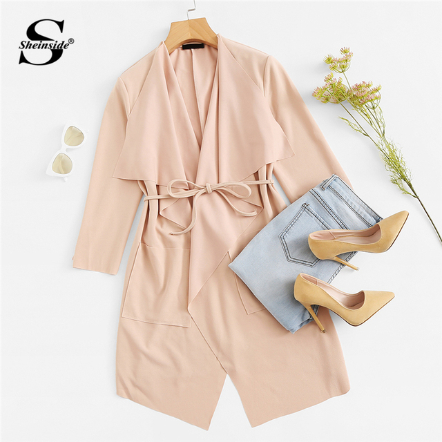 Sheinside Waterfall Collar Pocket Front Wrap Work Wear Trench Peach 3/4 Sleeve Apricot Knee Length With Belts Office Women Coat 4