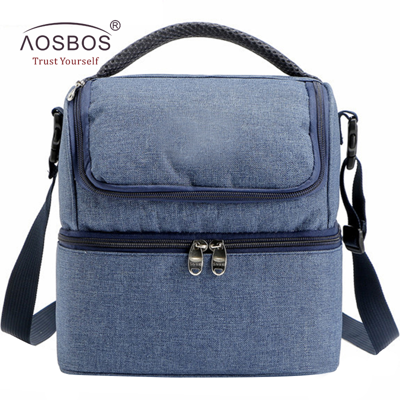 Aosbos 7L Waterproof Oxford Lunch Bags Men Portable Insulated Thermal Cooler Tote Bag Solid Food Picnic Bag for Kids Women sannen 7l double decker cooler lunch bags insulated solid thermal lunchbox food picnic bag cooler tote handbags for men women