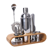 550ML Cocktail Shaker Set kit Bartender Kit shakers Stainless Steel 12 Pieces Bar Tool Set with Stylish Bamboo Stand