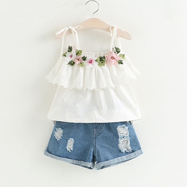Girls Clothes 2018 Summer New Girls Clothing Sets Fashion Flower