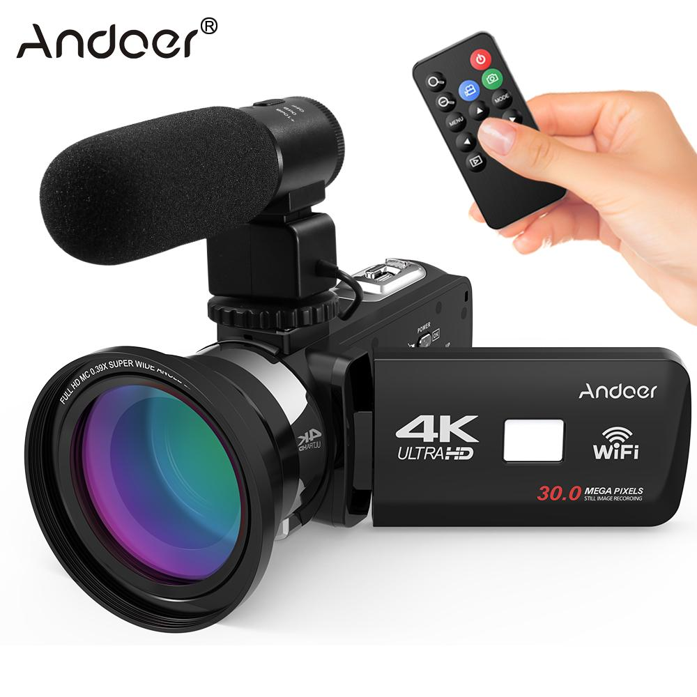 2018 New Andoer 4K Ultra HD WiFi Digital Video Camera Camcorder DV Recorder + External Microphone + 0.39X Wide Angle Lens