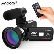 Новинка Andoer 4K Ultra HD WiFi Цифровая видеокамера DV рекордер+ внешний микрофон+ 0.39X широкоугольный объектив