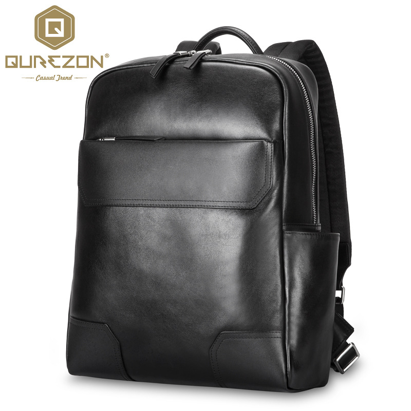 QUREZON Men Fashion Genuine Leather Fashion Backpack For 15 Inch Laptop High Quality HikinTravel Rucksack Shoulder Bag Mochila lowepro protactic 450 aw backpack rain professional slr for two cameras bag shoulder camera bag dslr 15 inch laptop