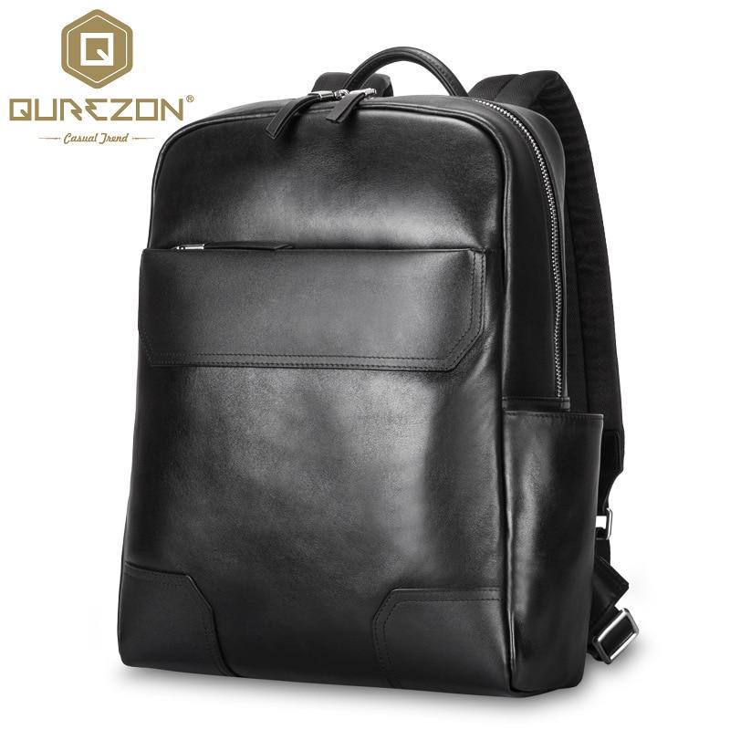 QUREZON Men Fashion Genuine Leather Fashion Backpack For 15 Inch Laptop High Quality HikinTravel Rucksack Shoulder Bag Mochila