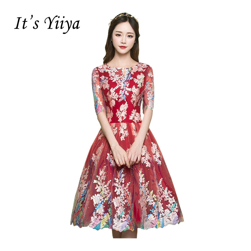 It's YiiYa Red Half Sleeves O-neck   Cocktail     Dresses   Elegant Knee-length Pattern Embroidery Illusion Charming   Cocktail   Gowns X270