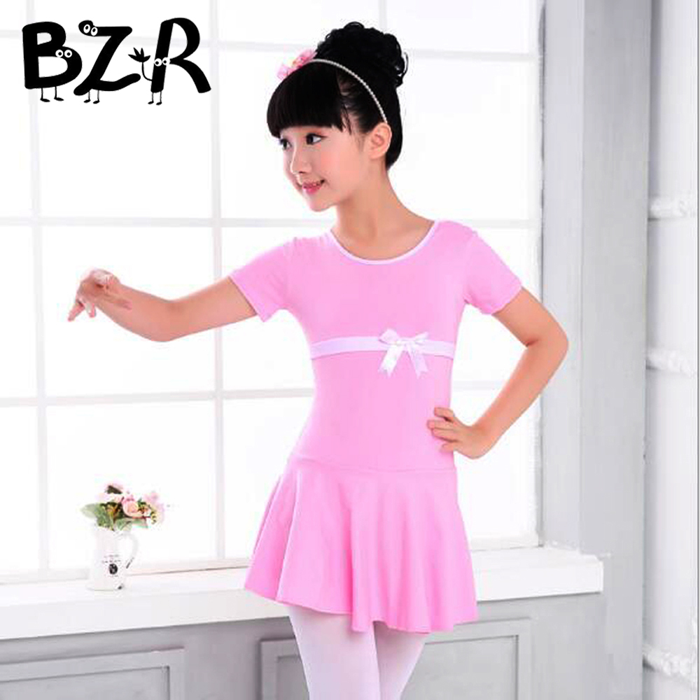 Girls Sweet Bow knot Modern Dance Dress Short Sleeve Long Sleeve Pure Colors Stage Dancing Clothes for 100-170cm Students Pupils