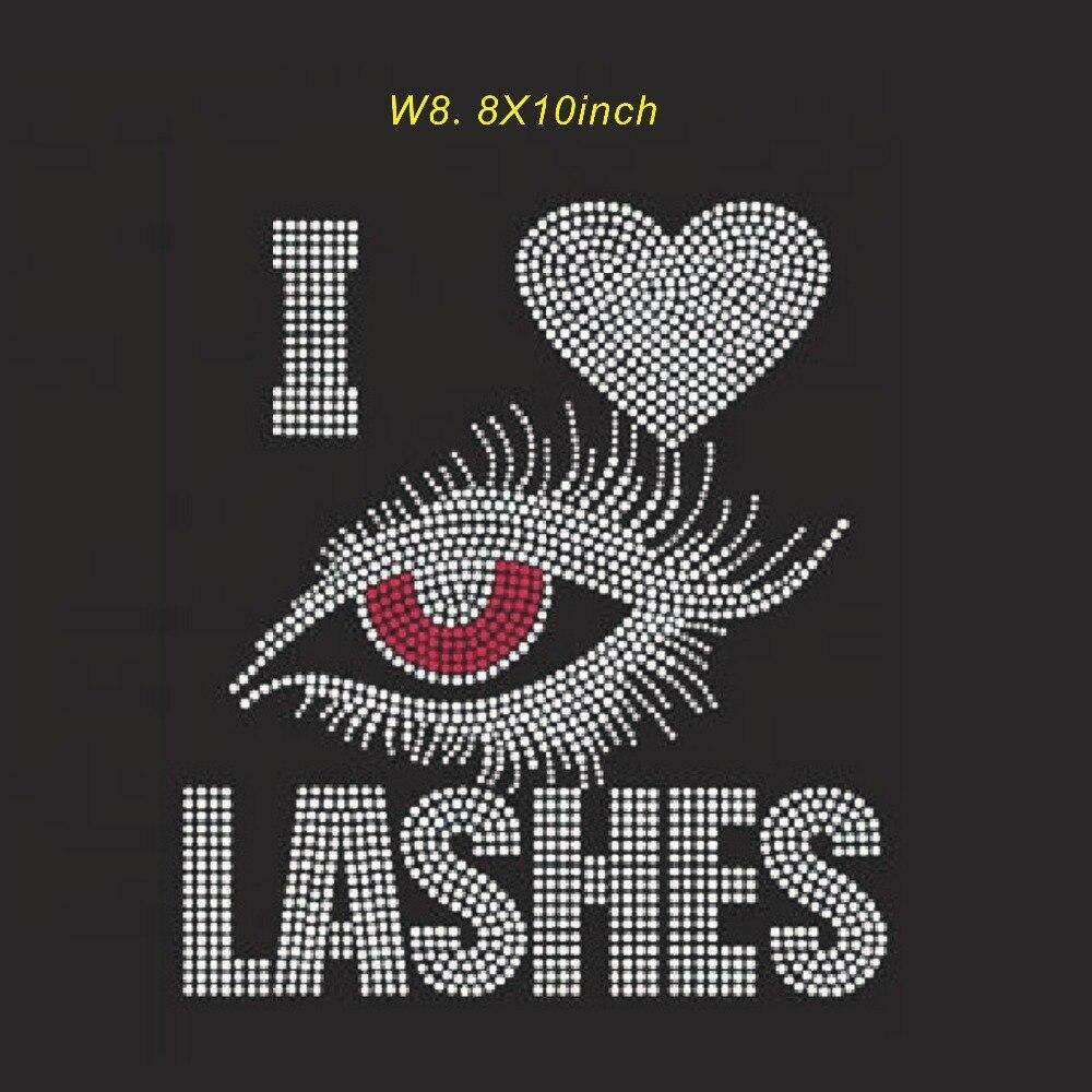I love lashes design rhinestone transfer hot fix rhinestone motif iron on strass
