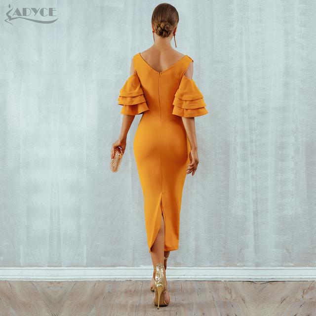 Vestidos Yellow Red Ruffle Butterfly Short Sleeve Midi Club Dress