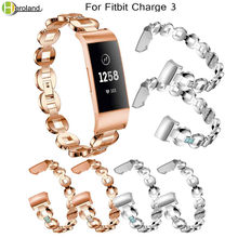 Crystal Metal Watch strap Luxury alloy steel For Fitbit Charge 3 Wristbands Replacement Smart Band Bracelet with diamond