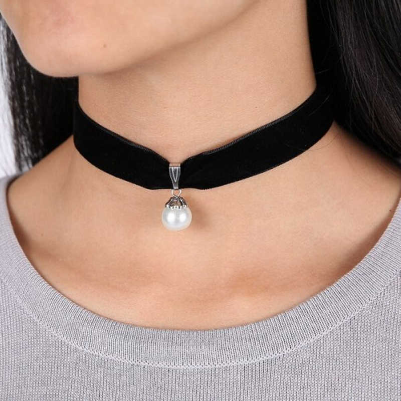 Handmade Velvet Lace Vintage Choker Necklace For Women Collar Torques Neck Jewelry Stretch Yin Yang Unicorn Charm Gothic Punk