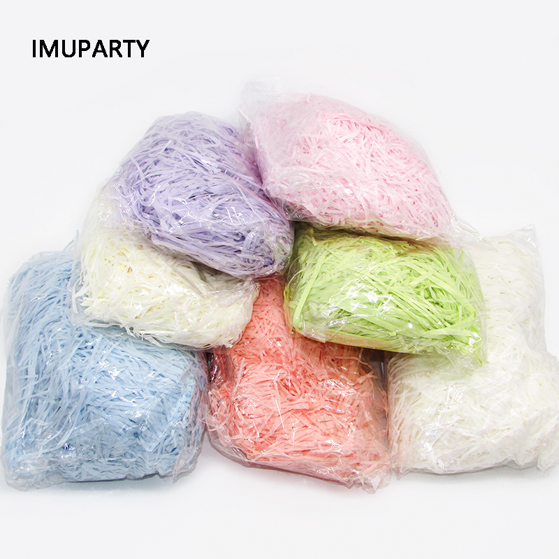 100g/pack Raffia Confetti Grass Gift Box Filler Paper Shredded Crinkle Filling Decorations For Wedding Party Favors Packaging