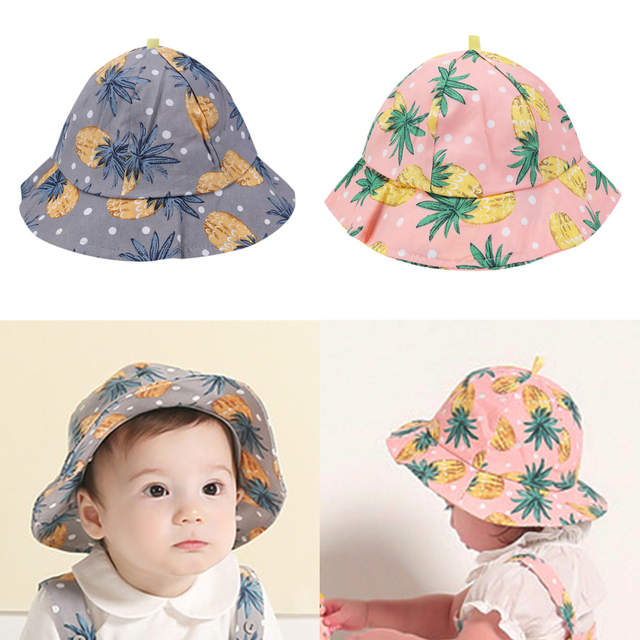 87ebef7e480 placeholder Baby Cartoon Pineapple Print Sun Hats Floral Children Summer  Panama Caps Baby Girls Fisherman Straw Hat