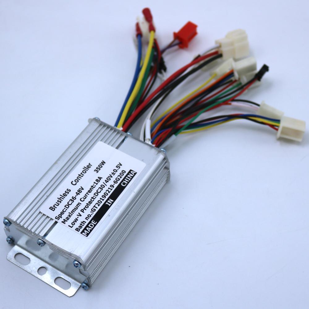 Controlador de motor de CC sin escobillas 36V 48V 250/350W controlador de bicicleta eléctrica sensor de modo dual/controlador de onda sensorless bldc