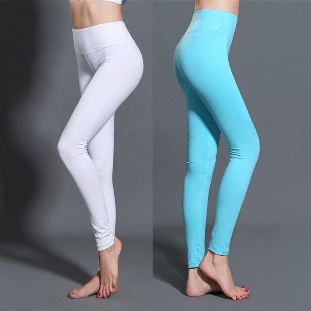 check-out 09607 cf9da US $14.99 |Sport Leggings Bianchi delle Donne Yoga Pantaloni di Fitness  Formazione Jogging Palestra Leggings Collant Da Corsa Delle Donne Elastico  ...