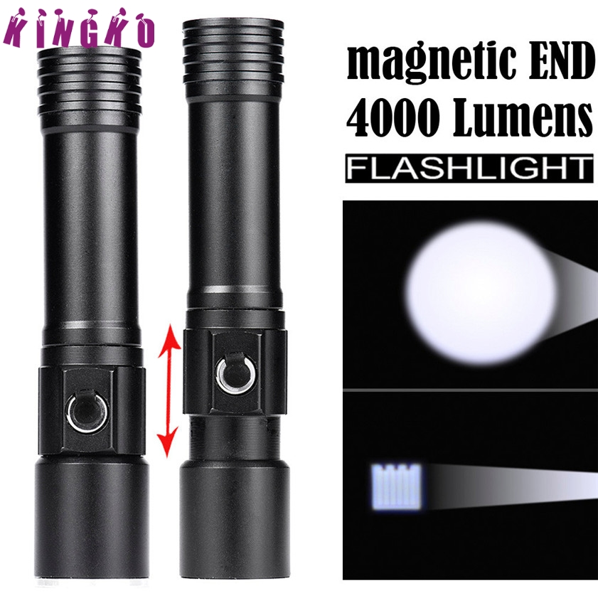 High Quality Zoomable Magnetic END Flashlight Waterproof Torch Light Lamp 18650 flashlight magnetic