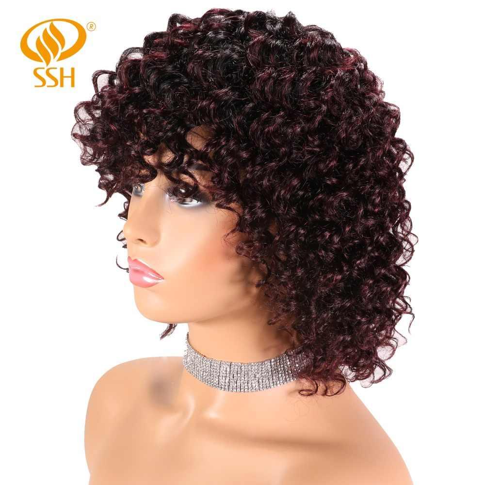 SSH Non-Remy Цвет парик их натуральных волос глубокая волна Омбре парики для женщин черный
