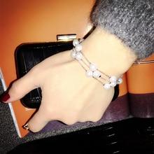цена на Fashion Multi-Layer Imitation Pearl Bracelet Ladies Sweet Charm Beads Bracelet For Women Jewelry Accessories Gift
