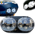 Free shipping 7'' inch Black Motorcycle Projector Daymaker Dual led headlight  for 2004-2013 Harley Davidson Road Glide