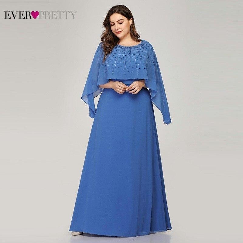 Ever Pretty Plus Size Blue Mother Of The Bride Dresses A-Line With Jacket Beaded Elegant Mother Dresses Vestido De Madrinha 2020