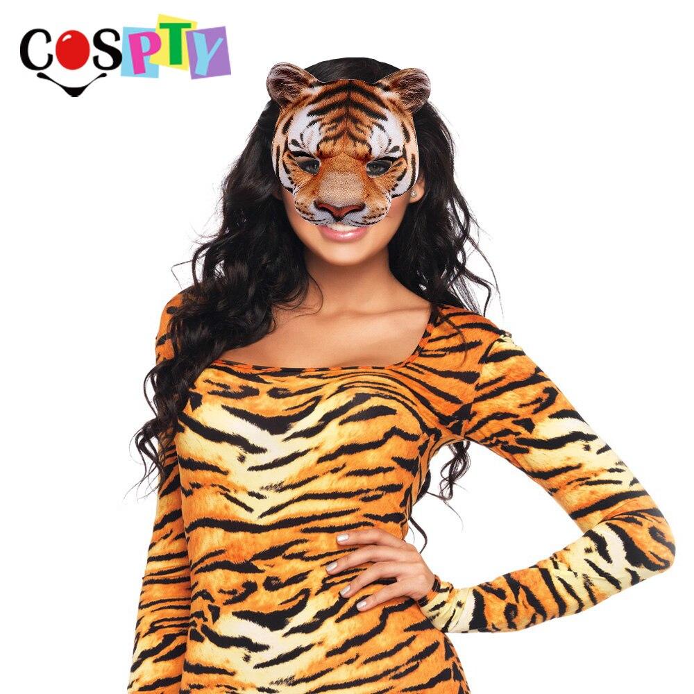 Cospty Karneval Party Mann und Frauen Halbe Gesicht Realistische Tier Cosplay Kostüm Tiger Maske