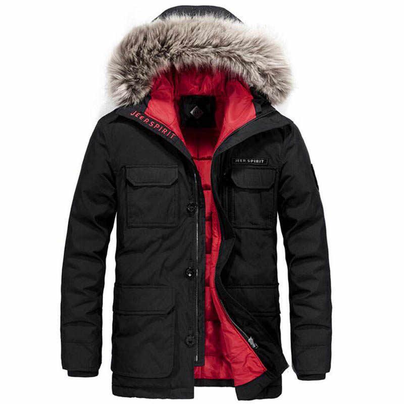 JEEP SPIRIT зимняя куртка мужская-20 градусов теплая толстая пуховая куртка ветровка мужская военная куртка Меховая зимняя куртка с капюшоном