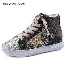 CCTWINS дети 2018 дети мальчик бренд блеск высокие кроссовки для маленьких девочек мода тренер малыша искусственная кожа обувь с блестками F1701
