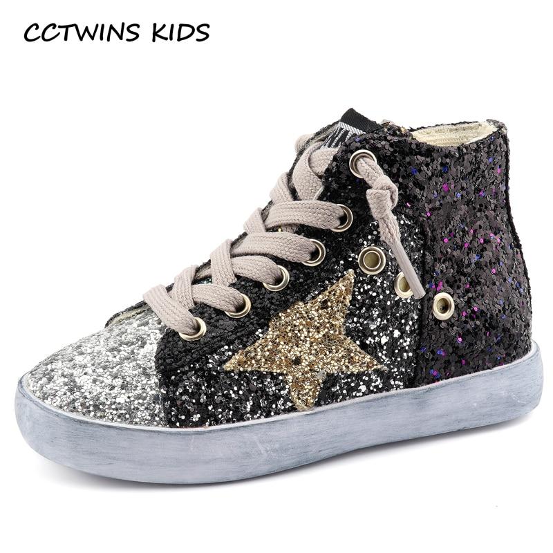 CCTWINS niños 2018 niños niño marca alto brillo superior zapatillas de deporte Bebé chica de moda entrenador Niño de cuero de la Pu de lentejuelas de F1701
