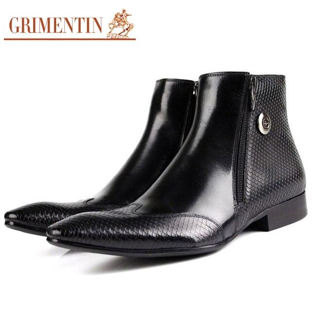 GRIMENTIN Men Ankle Boots Genuine Leather Luxury Designer Autumn Pointed  Toe Black Brown Zip Dress Botas