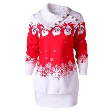 Womens Christmas Dress Winter Turtleneck Santa Claus Snowflake Print Tunic  Sweatshirt Mini Dress vestidos femininos 2017 c52c1984f9e6