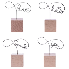Desk-Accessories Business-Card-Holder Memo-Clips Photo-Holder Wood Metal Clamps Words