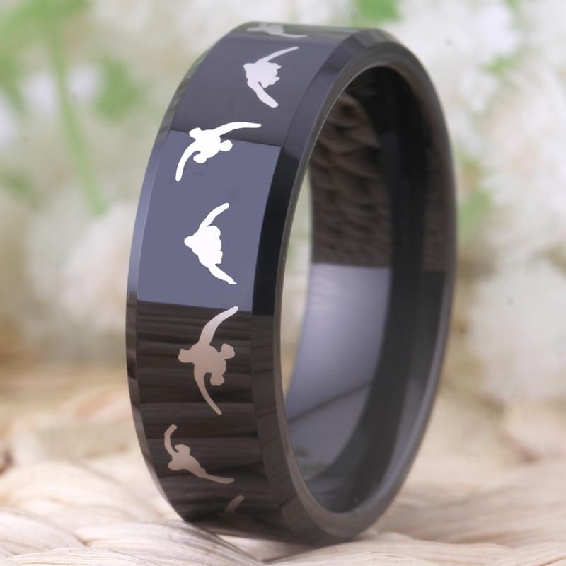 Моден волфрамов сватбен пръстен за - Модни бижута - Снимка 3
