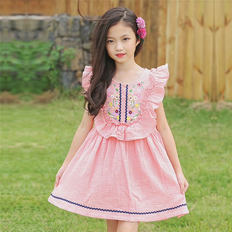 Summer Kids Dresses For Girls Casual Embroidery Flowers -1537