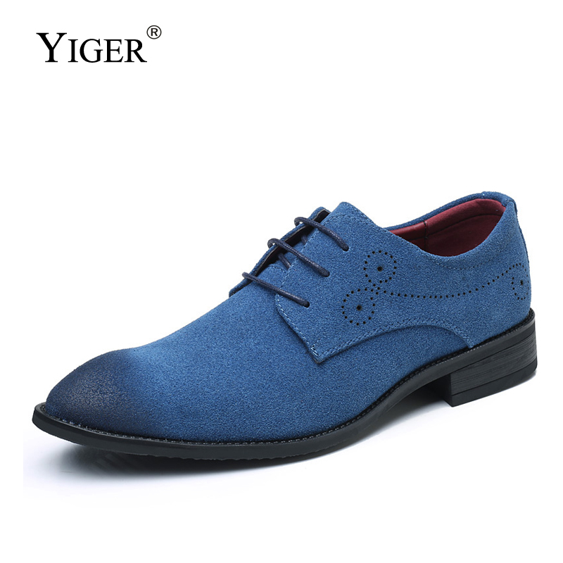 YIGER Men dress shoes large size Suede leather man oxford casual lace-up Daily big men formal 0341