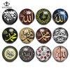 ROYALBEIER 12 unids/lote musulmán islámico Alá palabra varios estilos 18mm Botón de cristal ajuste encanto collar pulsera accesorios KZ1088