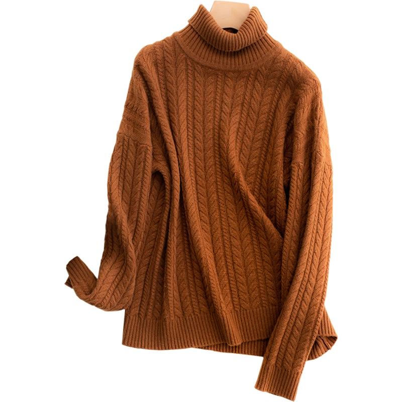 2018 nuovo maglione di cachemire di inverno delle donne di alta collare contorto maglione pullover di spessore di colore solido femminile di lana che basa pullover