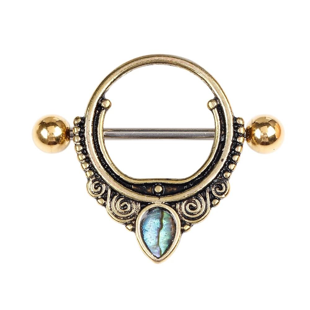 Nipple Piercings Nipple Rings Beaded Blue Crystal Centered Tribal Heart Filigree Ends 316L Surgical Steel Nipple Barbells