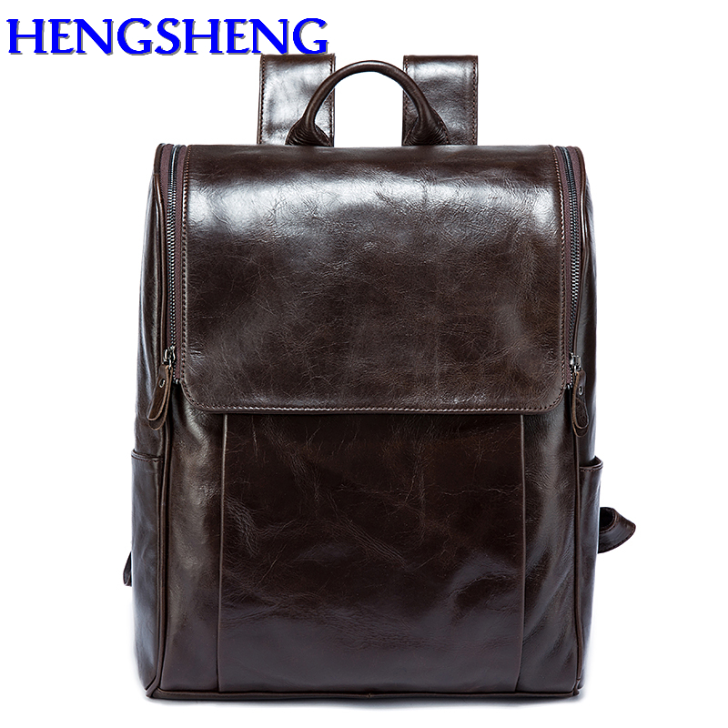 Hengsheng fashion large volume genuine leather men backpack for laptop leather backpack and quality leather women backpacks