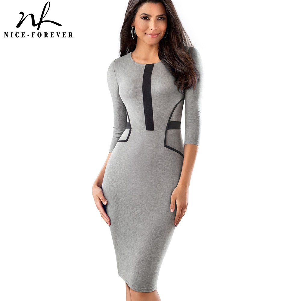 Nice-forever Vintage Brief Patchwork Wear To Work Elegant Vestidos Round Neck Party Bodycon Office Business Women Dress B480