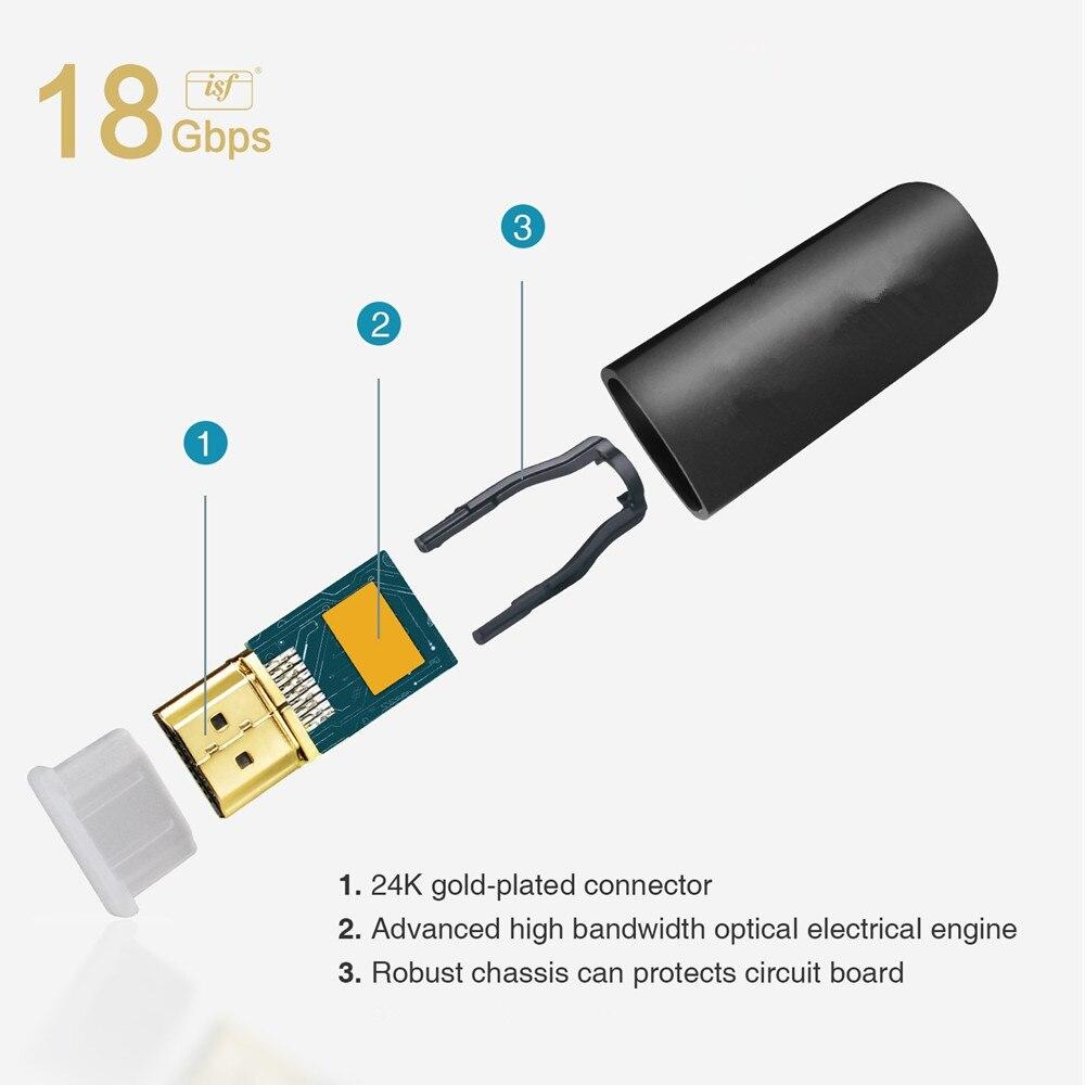 30 m/40 m/200 m UHD 4K * 2K @ 60Hz HDMI 2.0 câble de connexion à fibers optiques Support HDCP 2.2, AOC & HDR pour Apple TV, PS3, projecteur LCD