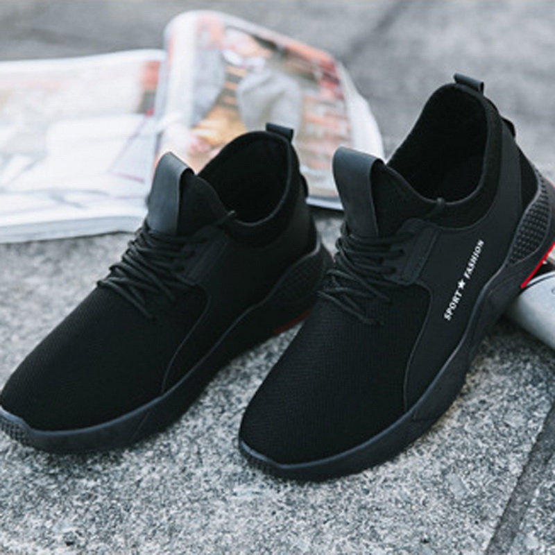 Men Shoes Sneakers Flats Stretch Male Casual Fashion Mesh Febric Lace-Up Shallow Solid