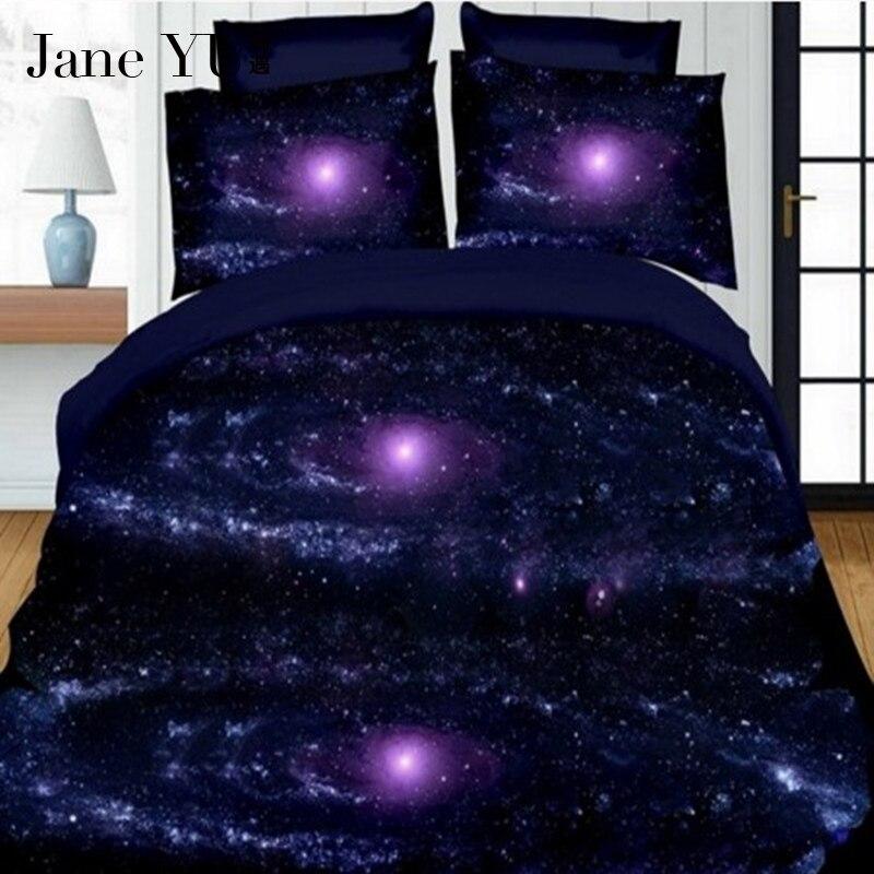 Janeyu Bedding-Set Bed-Sheets/pillowcases Space Galaxy 4pcs 3D Lit
