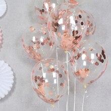 """5 шт., прозрачные воздушные шары, розовое золото, белый воздушный шар """"Конфетти"""", надувные гелиевые шары для свадьбы, дня рождения, вечеринки, латексные шары"""