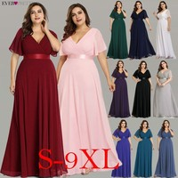 Plus Size Evening Dresses Ever Pretty V neck Nay Blue Elegant A line Chiffon Long Party Gowns 2019 Short Sleeve Occasion Dresses