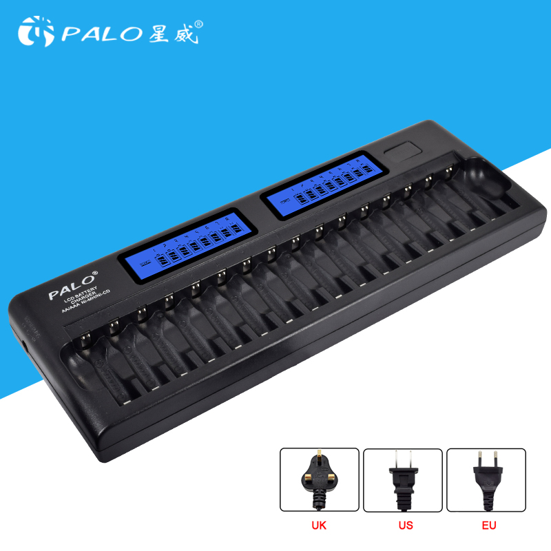 PALO 16 Slots LCD Smart Battery Charger AA AAA Ni-MH Ni-Cd 16 bay Batteries 16 Bank Rechargeable Batteries Smart LCD Display rechargeable 1 2v 3800mah aa ni mh batteries pair