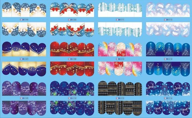 En venta!! 1 Lote por 10 artículos 12 Nuevo Estilo Nail Art Water Sticker Navidad Nieve fondo azul en 2016 para BN205-216
