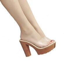 女性プラットフォームサンダル 11 センチメートルハイヒールフリップは、プラットフォーム下駄靴ファッションpvc透明サンダル夏の女性のスリッパ