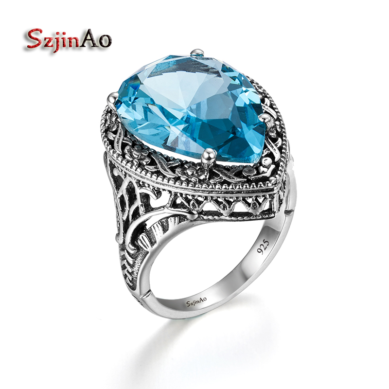 Szjinao American Fashion Retro 100% 925 Sterling Silver Hollow Out Water Body Blue Aquamarine Rings Wholesale New Brand